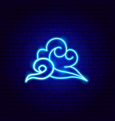 clouds neon sign vector image