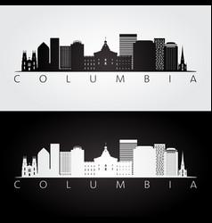 Columbia usa skyline and landmarks silhouette vector