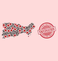 Coronavirus vaccination mosaic capri island map vector