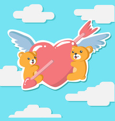 couple teddy bear hugging winged heart greeting vector image