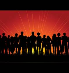 crowd at sunset vector image