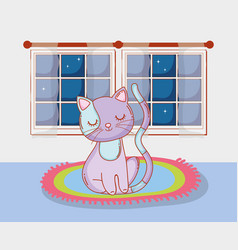 cute cat animal in the rug with window vector image