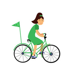 cute girl character in green dress riding a vector image
