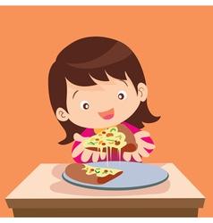 Cute girl eat pizza vector