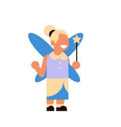 cute girl wear magic fairy costume happy halloween vector image