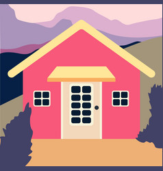 cute pink house with trees on vector image