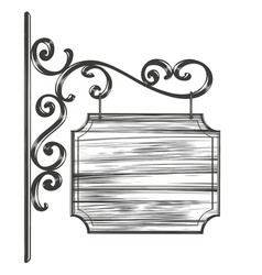 decorative street sign with wrought iron elements vector image