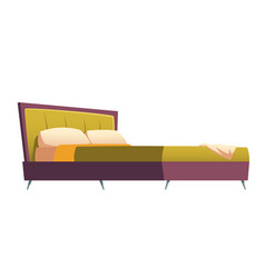 double bed with green upholstery and pillows vector image