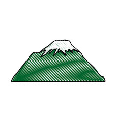 drawn mountain snow peak natural vector image