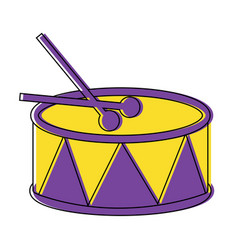 Drum and sticks music instrument percussion vector