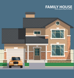 Family house and car hearth and home flat vector