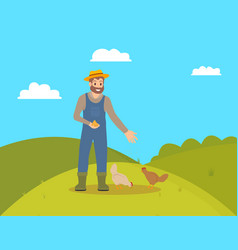 Farmer feeding domestic animals on farm cartoon vector
