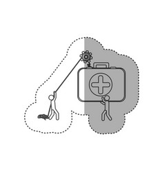Figure people with pulleys hanging the aid kit vector