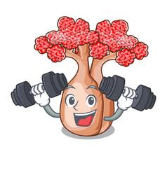 Fitness bottle tree in rose shape cartoon vector