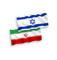 Flags iran and israel on a white background vector