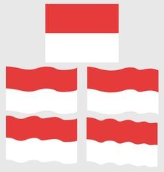 flat and waving flag of monaco vector image