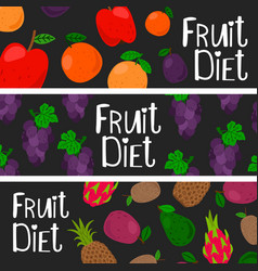 fruit diet banner templztes set vector image