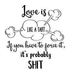 Funny hand drawn quote about love vector