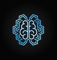 Geometric digital brain bright line icon vector