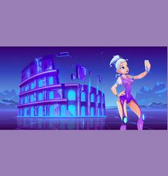 Girl selfie on coliseum neon sci-fi background vector