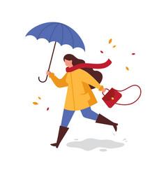 Girl with umbrella running from rain vector