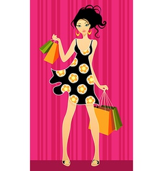 girls shopping vector image