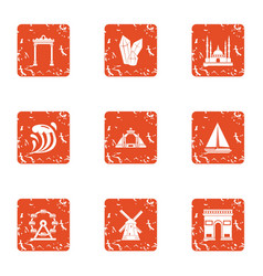 Great place icons set grunge style vector