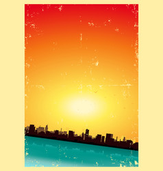 Grunge summer or spring vertical urban landscape vector