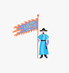 Gwanghwamun palace gate security guard in seoul vector