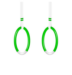 Gymnastic rings in green and white design vector