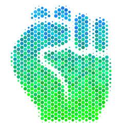 Halftone blue-green fist icon vector