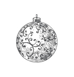 hand drawn christmas decorated round toy ball vector image
