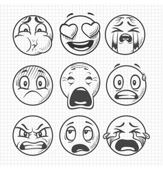 Hand drawn dissatisfied sad faces smiles vector