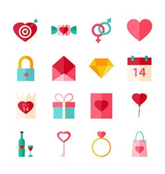 Happy Valentines Day Flat Objects Set isolated vector image