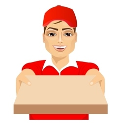 happy young pizza delivery guy vector image