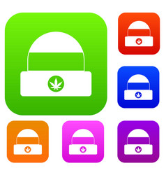 hat with sign cannabis set collection vector image