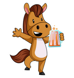 Horse with beer on white background vector