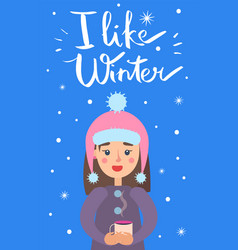 i like winter girl snowflakes vector image