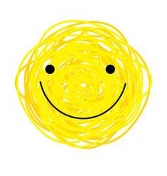 Icon cheerful yellow smiley vector