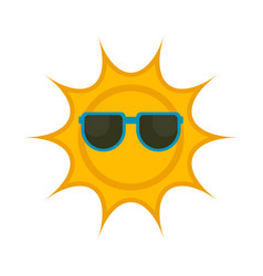 isolated sun with sunglasses icon vector image
