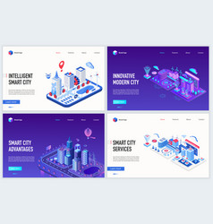 isometric smart city iot technology vector image