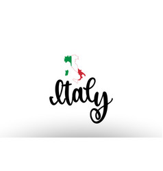 Italy country big text with flag inside map vector