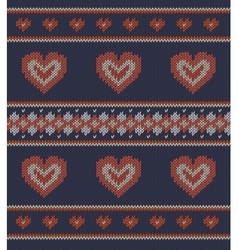 Jacquard pattern with red hearts vector