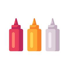 ketchup mustard and mayonnaise bottles sauce vector image