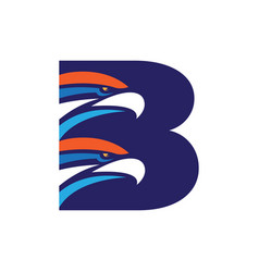 Letter b initial logo with eagle head template vector