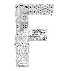 Letter f for coloring decorative zentangle vector