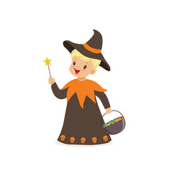 little boy dressed as a wizard cute kid in vector image