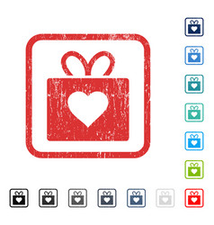Love gift icon rubber watermark vector