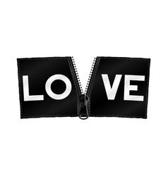 love on zipper banner vector image