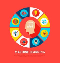 Machine learning concept icons vector